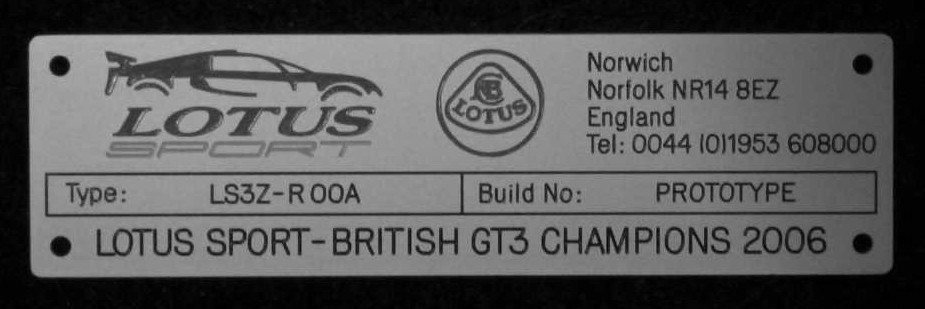 Lotus Exige GT3 for sales 114738d1237372174-lotus-gt3-sale-build-plate