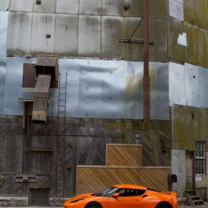 An unused grain elevator in Noblesville, Indiana provides the perfect backdrop for the Evora.
