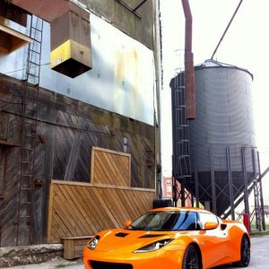 The Evora at a Noblesville, Indiana grain elevator.
