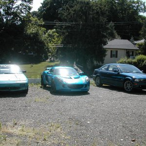 1986 MR2 Light Blue, 2007 Exige S Laser Blue, 2001 BMW 325Ci Topaz Blue