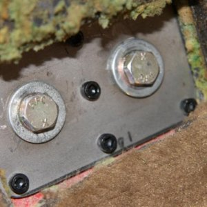 "Bulkhead to chassis joint plate with 3/8"" aircraft bolts"